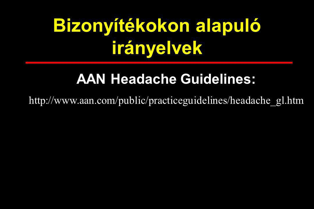 Bizonyítékokon alapuló irányelvek AAN Headache Guidelines: http://www.aan.com/public/practiceguidelines/headache_gl.htm