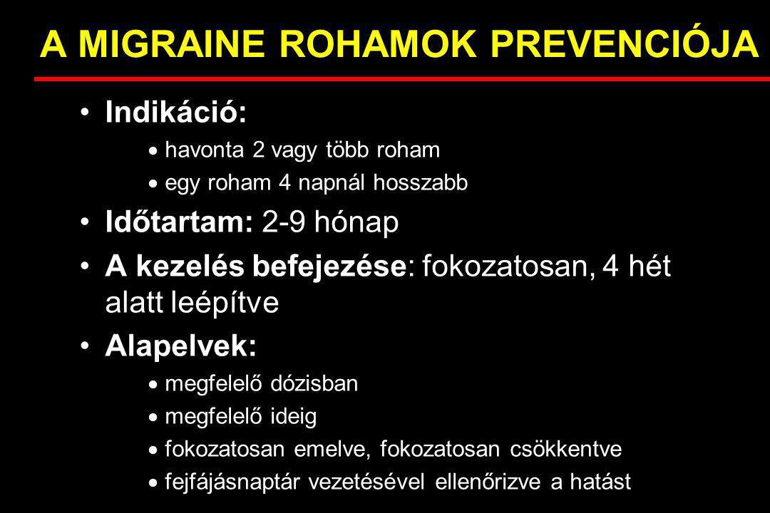 A MIGRAINE ROHAMOK PREVENCIÓJA Indikáció:  havonta 2 vagy több roham  egy roham 4 napnál hosszabb Időtartam: 2-9 hónap A kezelés befejezése: fokozat