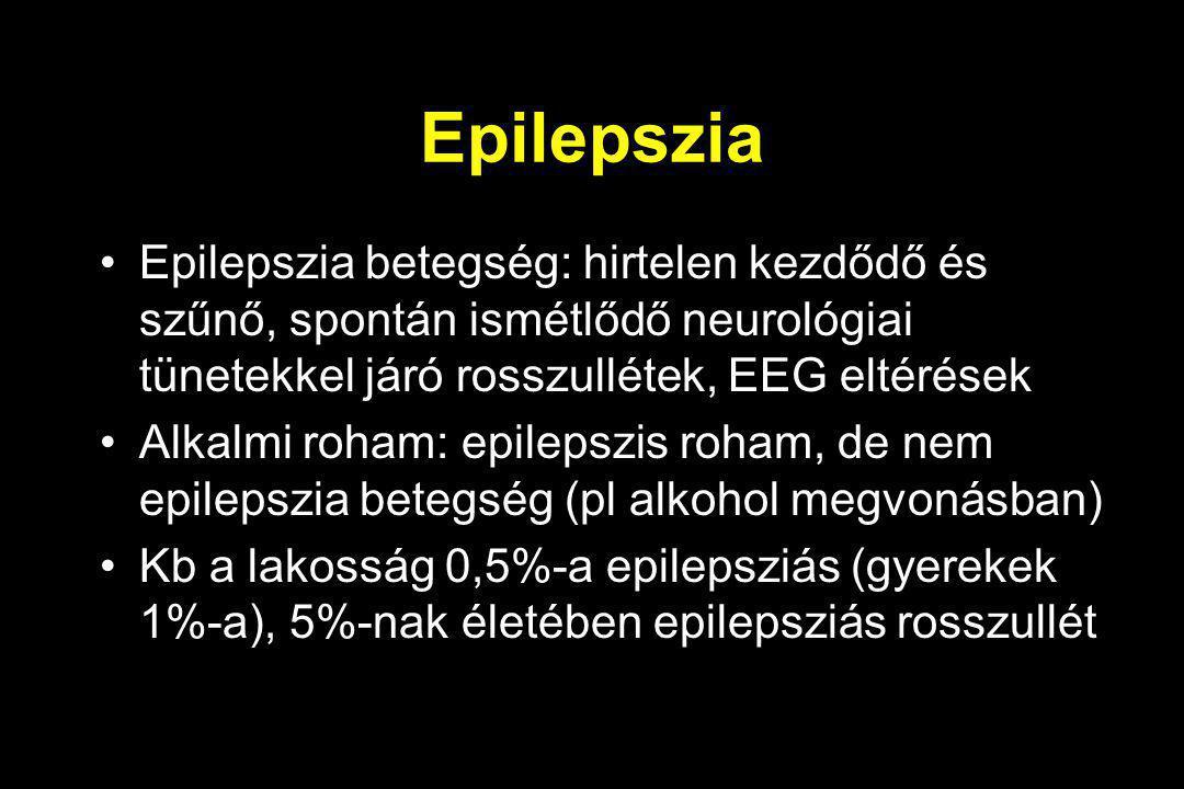 Epilepszia Epilepszia betegség: hirtelen kezdődő és szűnő, spontán ismétlődő neurológiai tünetekkel járó rosszullétek, EEG eltérések Alkalmi roham: ep