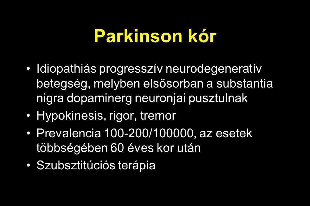 Parkinson kór Idiopathiás progresszív neurodegeneratív betegség, melyben elsősorban a substantia nigra dopaminerg neuronjai pusztulnak Hypokinesis, ri