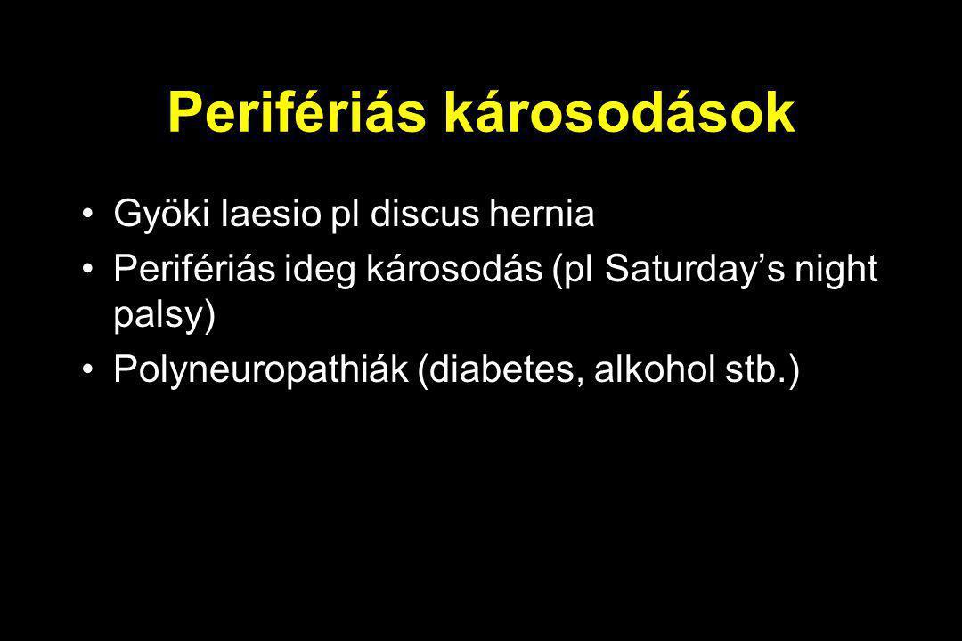 Perifériás károsodások Gyöki laesio pl discus hernia Perifériás ideg károsodás (pl Saturday's night palsy) Polyneuropathiák (diabetes, alkohol stb.)