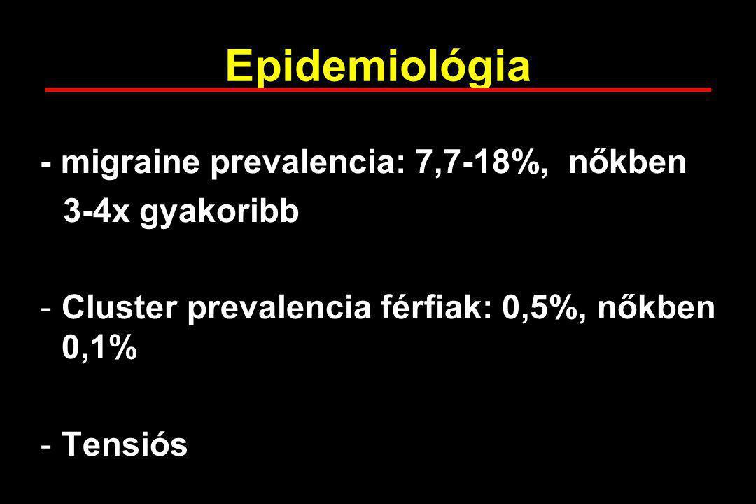 Epidemiológia - migraine prevalencia: 7,7-18%, nőkben 3-4x gyakoribb -Cluster prevalencia férfiak: 0,5%, nőkben 0,1% -Tensiós