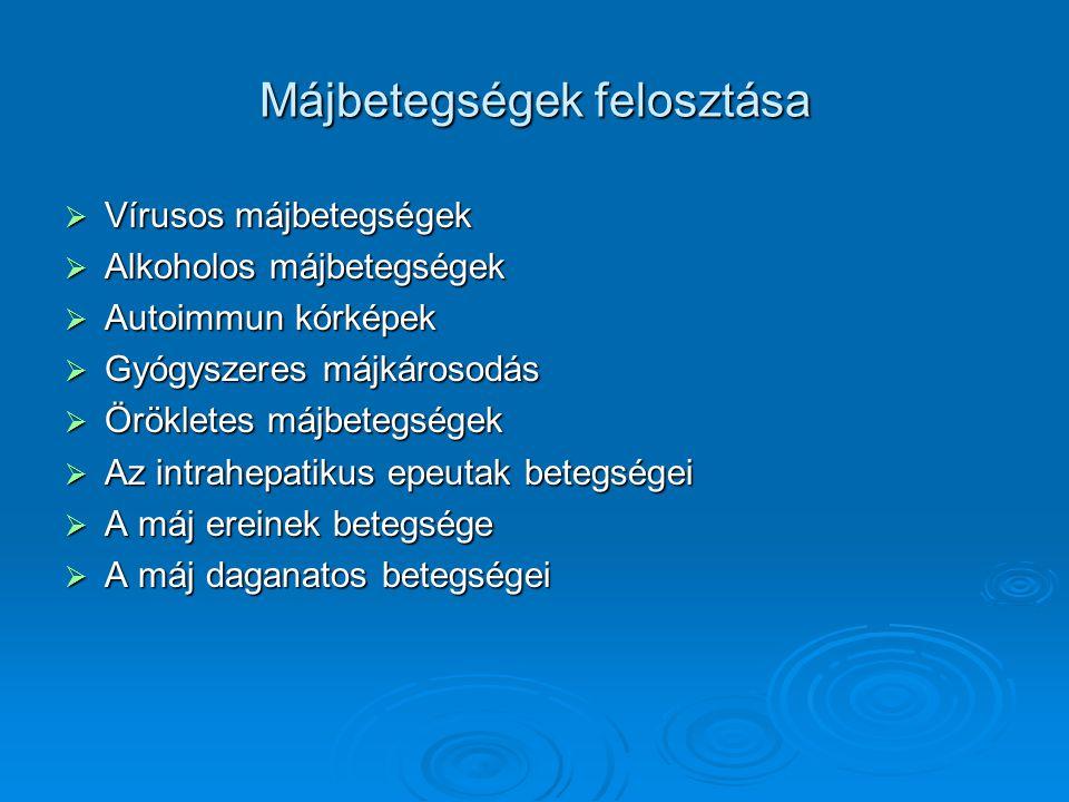 Májbetegségek felosztása  Vírusos májbetegségek  Alkoholos májbetegségek  Autoimmun kórképek  Gyógyszeres májkárosodás  Örökletes májbetegségek  Az intrahepatikus epeutak betegségei  A máj ereinek betegsége  A máj daganatos betegségei