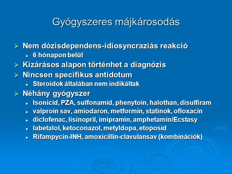 Gyógyszeres májkárosodás  Nem dózisdependens-idiosyncraziás reakció 6 hónapon belül 6 hónapon belül  Kizárásos alapon történhet a diagnózis  Nincsen specifikus antidotum Steroidok általában nem indikáltak Steroidok általában nem indikáltak  Néhány gyógyszer Isonicid, PZA, sulfonamid, phenytoin, halothan, disulfiram Isonicid, PZA, sulfonamid, phenytoin, halothan, disulfiram valproin sav, amiodaron, metformin, statinok, ofloxacin valproin sav, amiodaron, metformin, statinok, ofloxacin diclofenac, lisinopril, imipramin, amphetamin/Ecstasy diclofenac, lisinopril, imipramin, amphetamin/Ecstasy labetalol, ketoconazol, metyldopa, etoposid labetalol, ketoconazol, metyldopa, etoposid Rifampycin-INH, amoxicillin-clavulansav (kombinációk) Rifampycin-INH, amoxicillin-clavulansav (kombinációk)