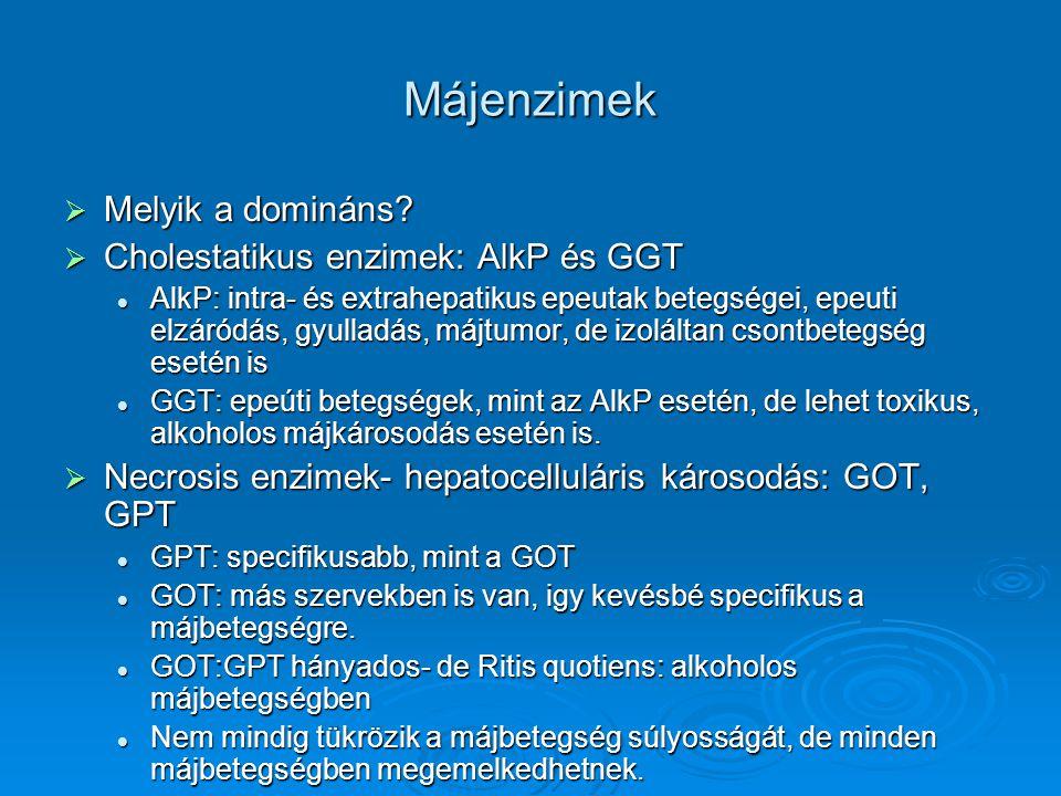 Májenzimek  Melyik a domináns?  Cholestatikus enzimek: AlkP és GGT AlkP: intra- és extrahepatikus epeutak betegségei, epeuti elzáródás, gyulladás, m