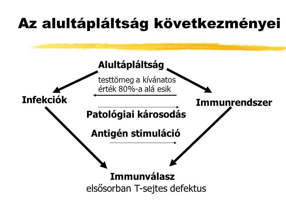 Az alultápláltság következményei Alultápláltság testtömeg a kívánatos érték 80%-a alá esik Patológiai károsodás Antigén stimuláció Infekciók Immunrend