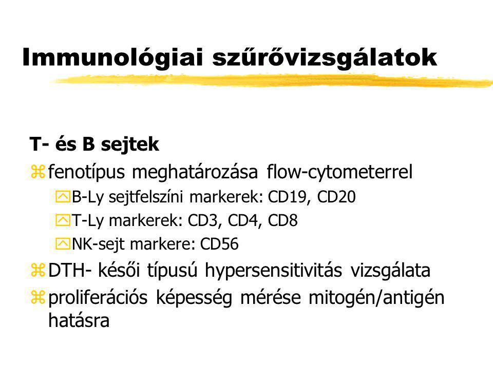 Immunológiai szűrővizsgálatok T- és B sejtek zfenotípus meghatározása flow-cytometerrel yB-Ly sejtfelszíni markerek: CD19, CD20 yT-Ly markerek: CD3, C