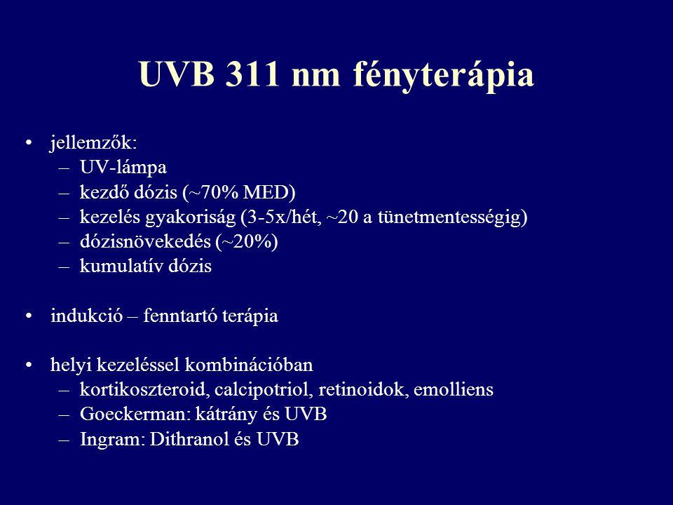 UVB 311 nm fényterápia jellemzők: –UV-lámpa –kezdő dózis (~70% MED) –kezelés gyakoriság (3-5x/hét, ~20 a tünetmentességig) –dózisnövekedés (~20%) –kum