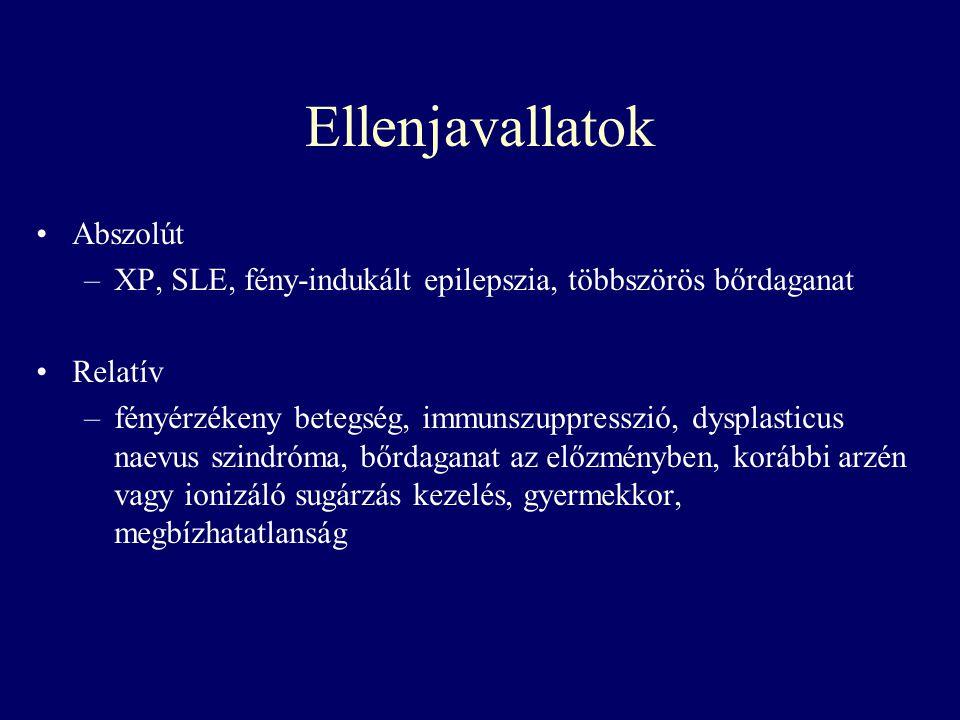 Ellenjavallatok Abszolút –XP, SLE, fény-indukált epilepszia, többszörös bőrdaganat Relatív –fényérzékeny betegség, immunszuppresszió, dysplasticus nae