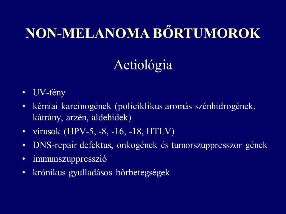 Aetiológia UV-fény kémiai karcinogének (policiklikus aromás szénhidrogének, kátrány, arzén, aldehidek) vírusok (HPV-5, -8, -16, -18, HTLV) DNS-repair