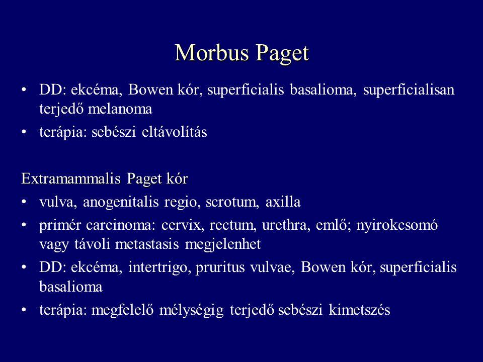Morbus Paget DD: ekcéma, Bowen kór, superficialis basalioma, superficialisan terjedő melanoma terápia: sebészi eltávolítás Extramammalis Paget kór vul