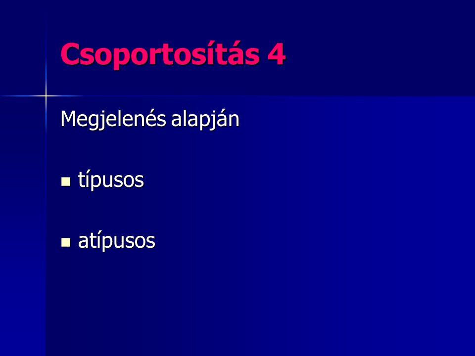 Csoportosítás 4 Megjelenés alapján típusos típusos atípusos atípusos