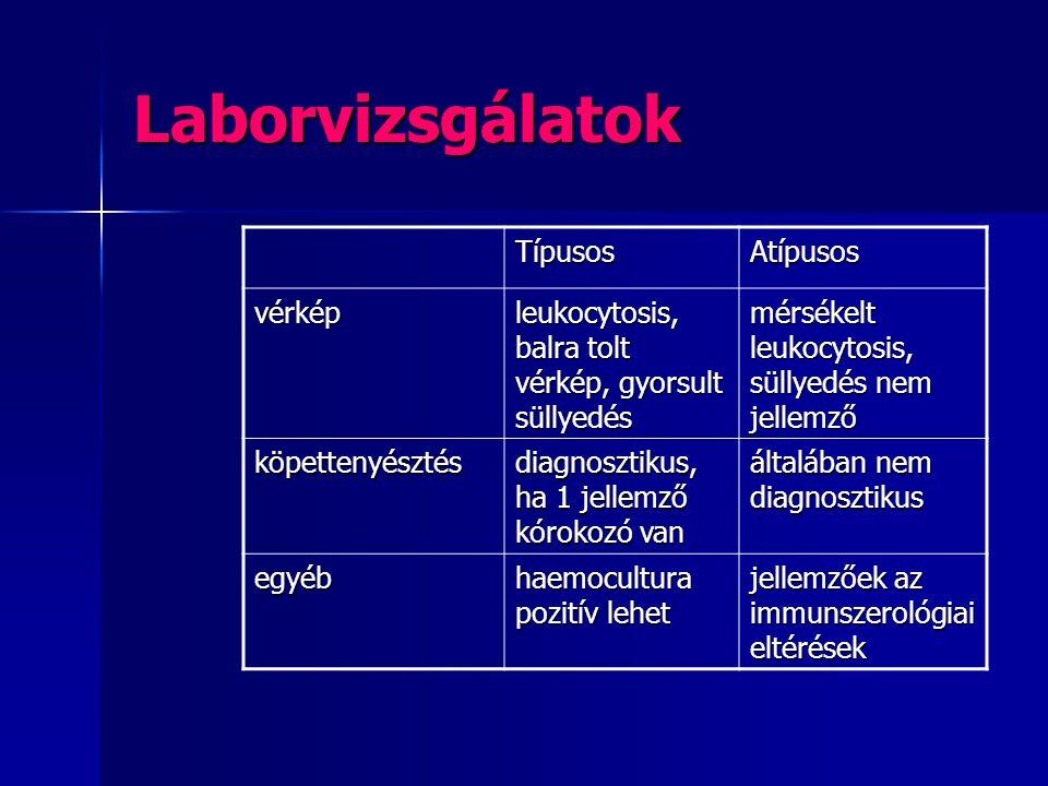 Laborvizsgálatok TípusosAtípusos vérkép leukocytosis, balra tolt vérkép, gyorsult süllyedés mérsékelt leukocytosis, süllyedés nem jellemző köpettenyés