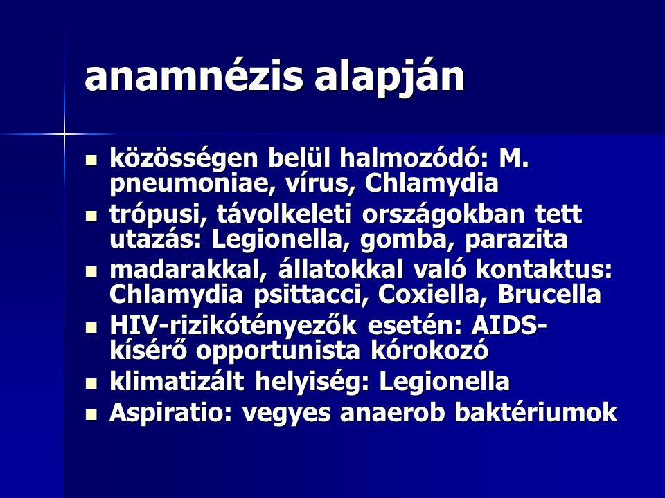 anamnézis alapján közösségen belül halmozódó: M. pneumoniae, vírus, Chlamydia közösségen belül halmozódó: M. pneumoniae, vírus, Chlamydia trópusi, táv