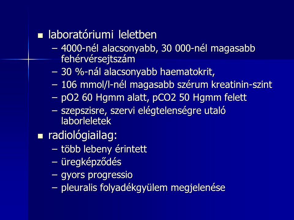 laboratóriumi leletben laboratóriumi leletben –4000-nél alacsonyabb, 30 000-nél magasabb fehérvérsejtszám –30 %-nál alacsonyabb haematokrit, –106 mmol