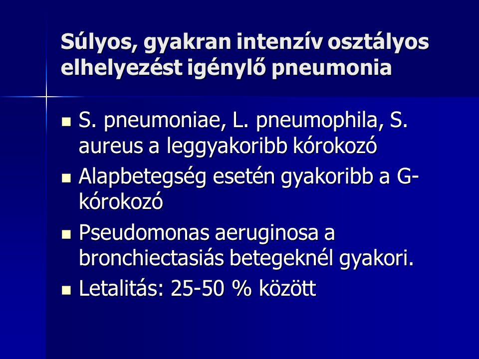 Súlyos, gyakran intenzív osztályos elhelyezést igénylő pneumonia S. pneumoniae, L. pneumophila, S. aureus a leggyakoribb kórokozó S. pneumoniae, L. pn