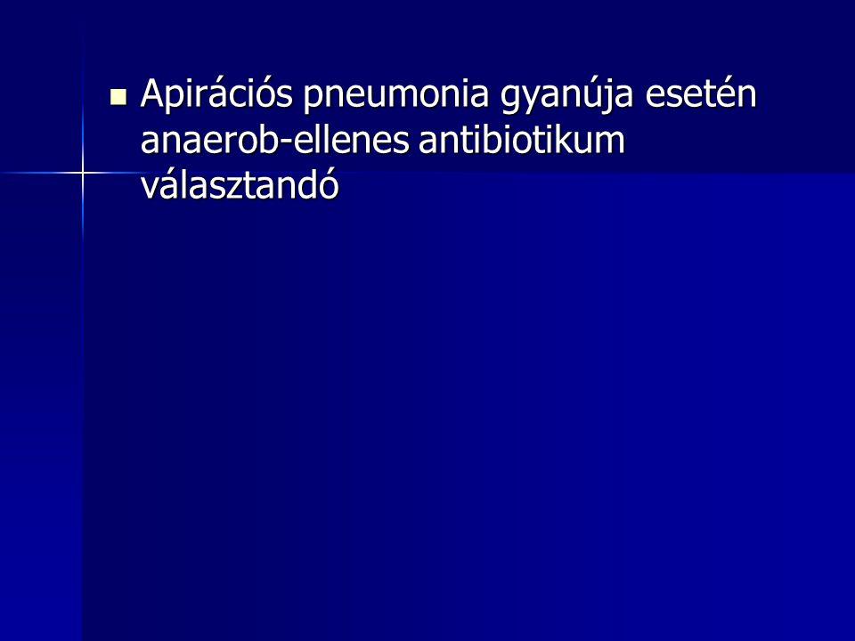 Apirációs pneumonia gyanúja esetén anaerob-ellenes antibiotikum választandó Apirációs pneumonia gyanúja esetén anaerob-ellenes antibiotikum választand