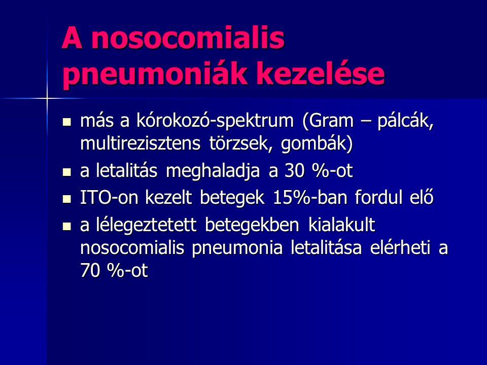 A nosocomialis pneumoniák kezelése más a kórokozó-spektrum (Gram – pálcák, multirezisztens törzsek, gombák) más a kórokozó-spektrum (Gram – pálcák, mu