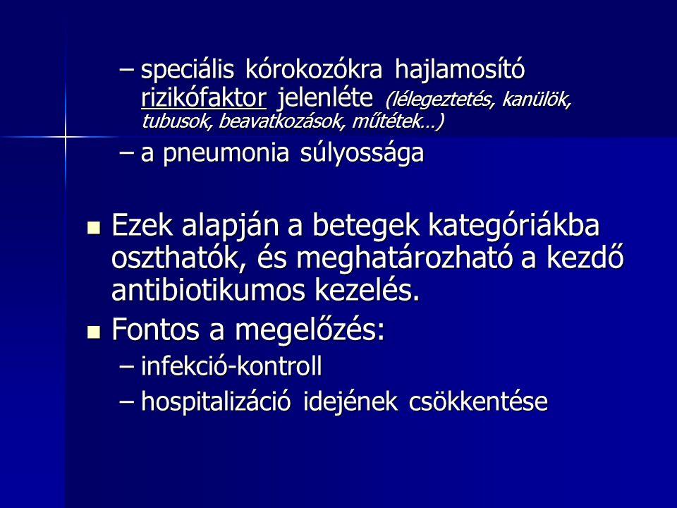–speciális kórokozókra hajlamosító rizikófaktor jelenléte (lélegeztetés, kanülök, tubusok, beavatkozások, műtétek…) –a pneumonia súlyossága Ezek alapj