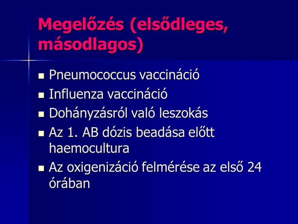 Megelőzés (elsődleges, másodlagos) Pneumococcus vaccináció Pneumococcus vaccináció Influenza vaccináció Influenza vaccináció Dohányzásról való leszoká