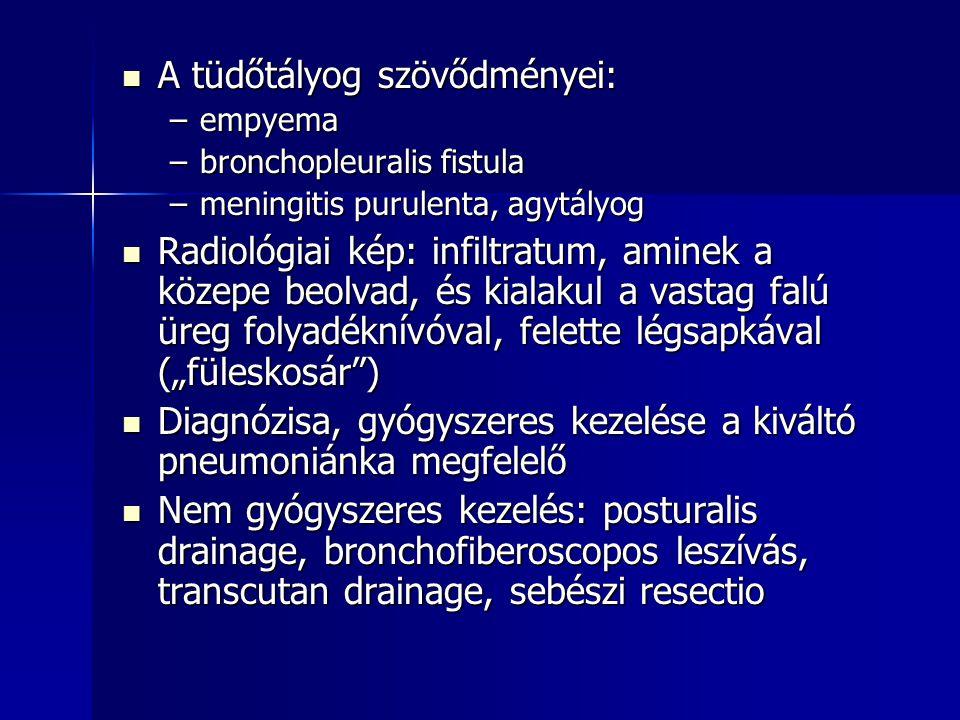 A tüdőtályog szövődményei: A tüdőtályog szövődményei: –empyema –bronchopleuralis fistula –meningitis purulenta, agytályog Radiológiai kép: infiltratum
