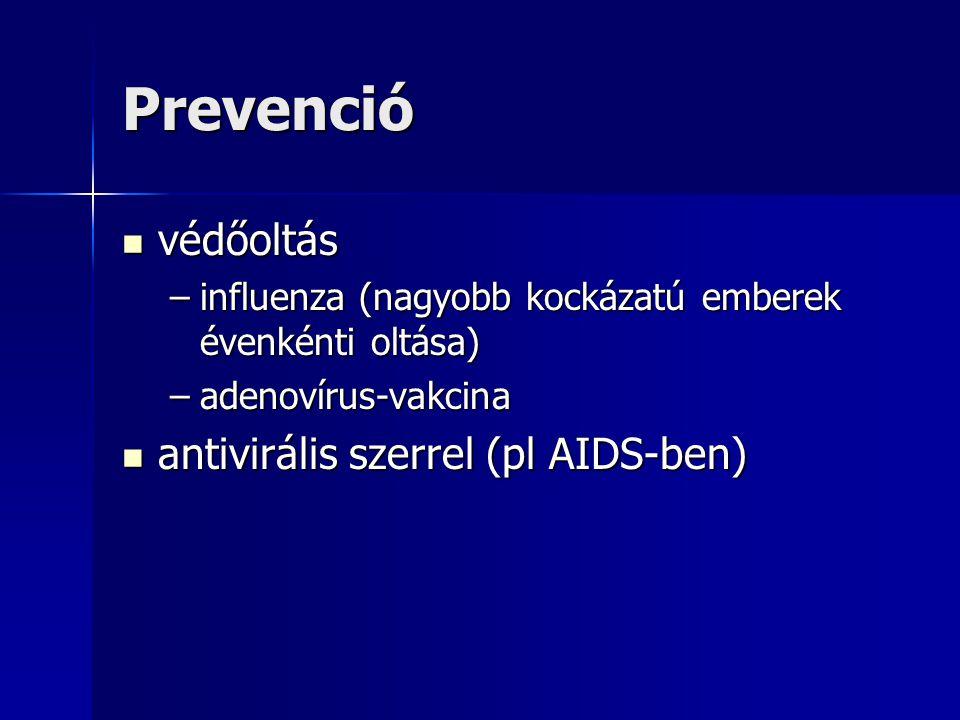 Prevenció védőoltás védőoltás –influenza (nagyobb kockázatú emberek évenkénti oltása) –adenovírus-vakcina antivirális szerrel (pl AIDS-ben) antiviráli