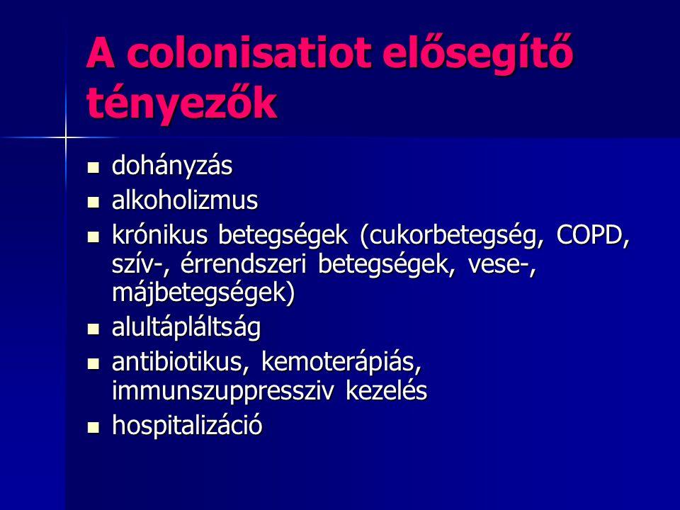 A colonisatiot elősegítő tényezők dohányzás dohányzás alkoholizmus alkoholizmus krónikus betegségek (cukorbetegség, COPD, szív-, érrendszeri betegsége