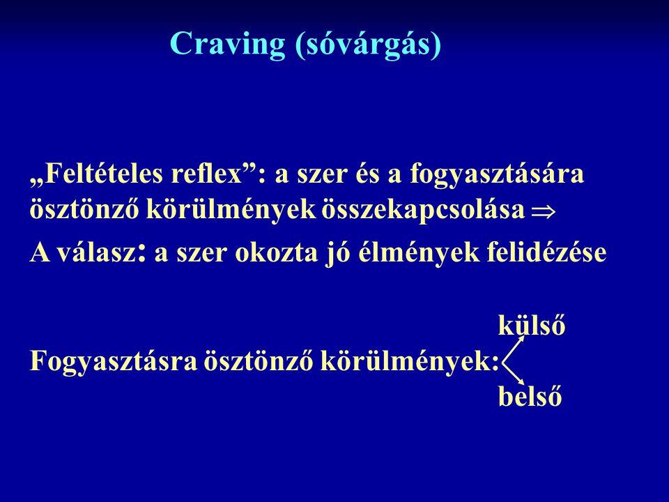 """Craving (sóvárgás) """"Feltételes reflex : a szer és a fogyasztására ösztönző körülmények összekapcsolása  A válasz : a szer okozta jó élmények felidézése külső Fogyasztásra ösztönző körülmények: belső"""