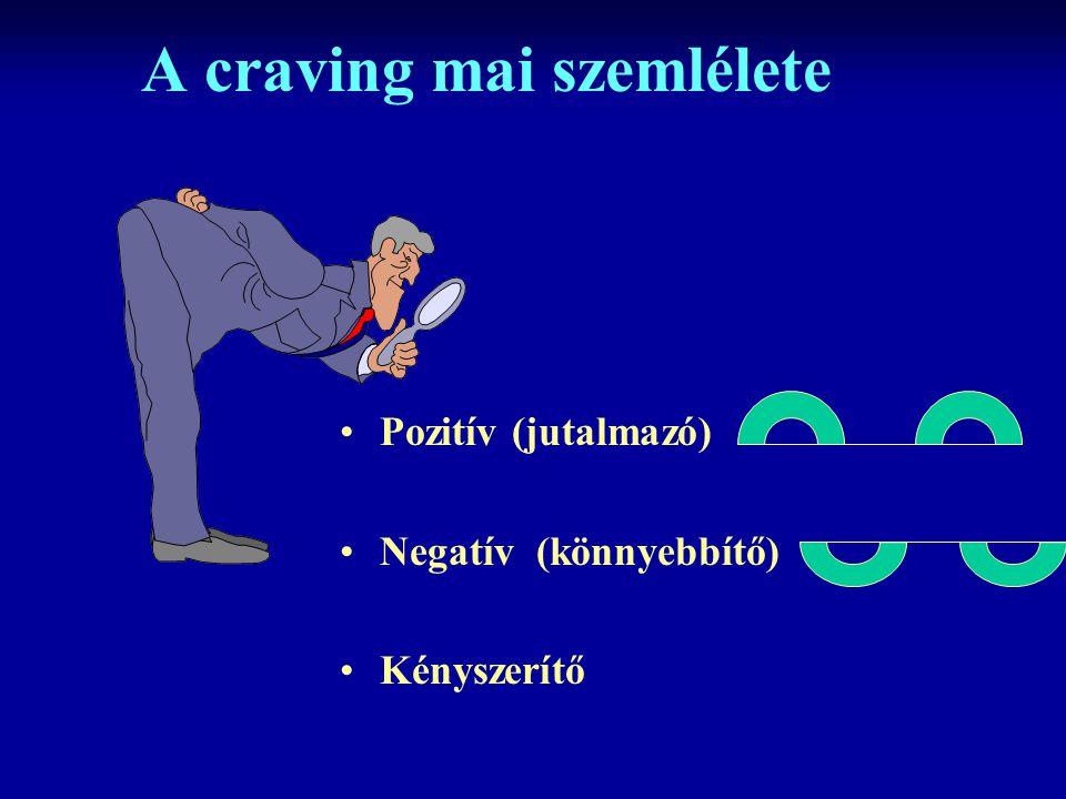 A craving mai szemlélete Pozitív (jutalmazó) Negatív (könnyebbítő) Kényszerítő