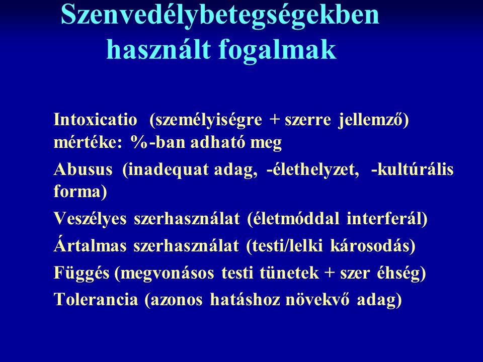 Szenvedélybetegségekben használt fogalmak Intoxicatio (személyiségre + szerre jellemző) mértéke: %-ban adható meg Abusus (inadequat adag, -élethelyzet, -kultúrális forma) Veszélyes szerhasználat (életmóddal interferál) Ártalmas szerhasználat (testi/lelki károsodás) Függés (megvonásos testi tünetek + szer éhség) Tolerancia (azonos hatáshoz növekvő adag)