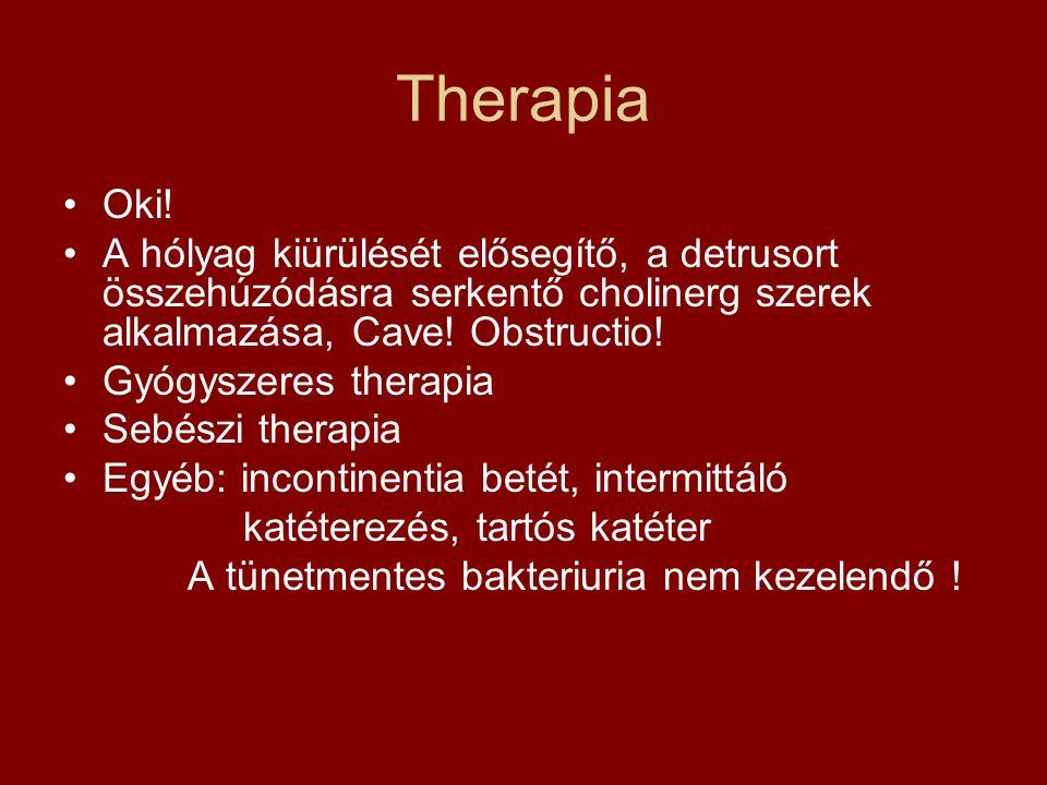 Therapia Oki! A hólyag kiürülését elősegítő, a detrusort összehúzódásra serkentő cholinerg szerek alkalmazása, Cave! Obstructio! Gyógyszeres therapia