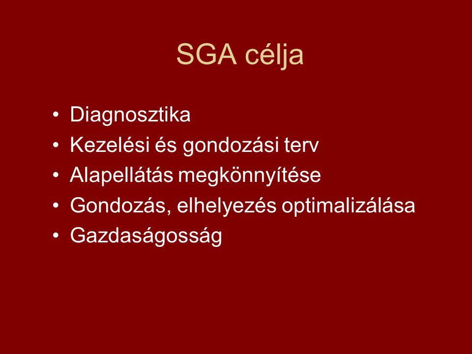 SGA célja Diagnosztika Kezelési és gondozási terv Alapellátás megkönnyítése Gondozás, elhelyezés optimalizálása Gazdaságosság
