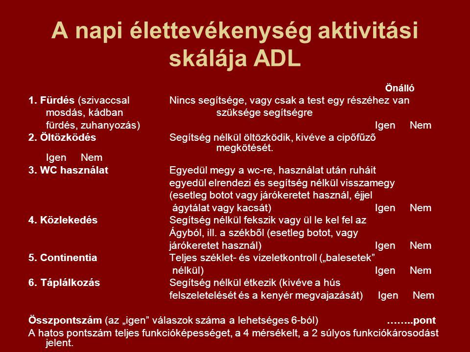 A napi élettevékenység aktivitási skálája ADL Önálló 1. Fürdés (szivaccsal Nincs segítsége, vagy csak a test egy részéhez van mosdás, kádbanszüksége s
