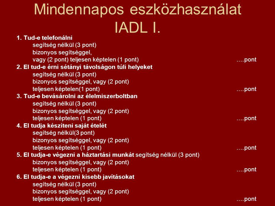 Mindennapos eszközhasználat IADL I. 1. Tud-e telefonálni segítség nélkül (3 pont) bizonyos segítséggel, vagy (2 pont) teljesen képtelen (1 pont).…pont