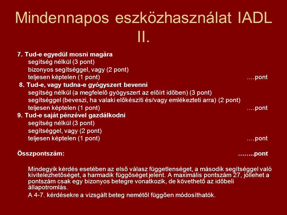 Mindennapos eszközhasználat IADL II. 7. Tud-e egyedül mosni magára segítség nélkül (3 pont) bizonyos segítséggel, vagy (2 pont) teljesen képtelen (1 p