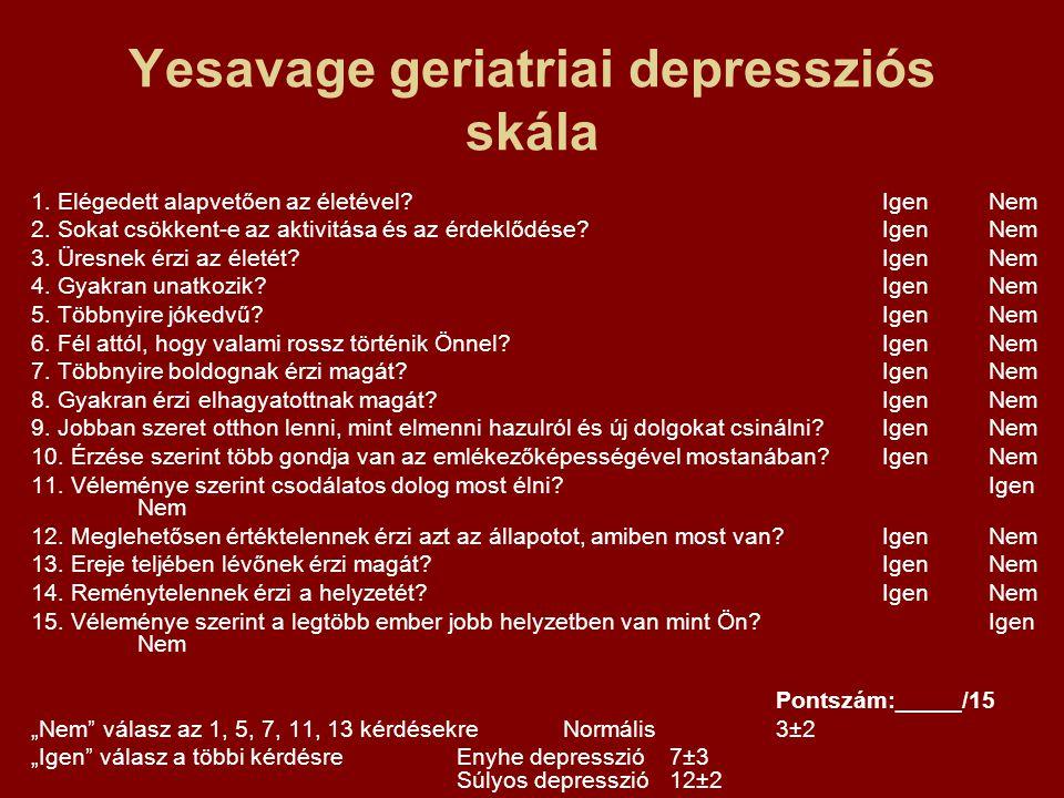 Yesavage geriatriai depressziós skála 1. Elégedett alapvetően az életével?IgenNem 2. Sokat csökkent-e az aktivitása és az érdeklődése?IgenNem 3. Üresn