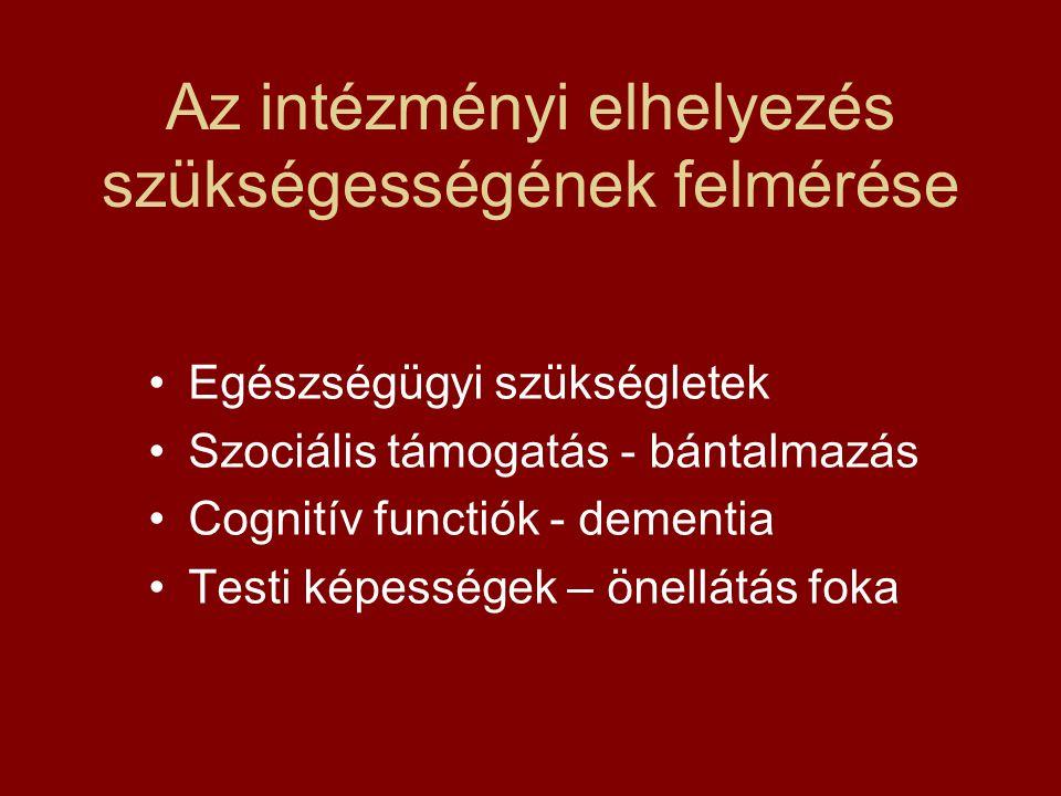 Az intézményi elhelyezés szükségességének felmérése Egészségügyi szükségletek Szociális támogatás - bántalmazás Cognitív functiók - dementia Testi kép