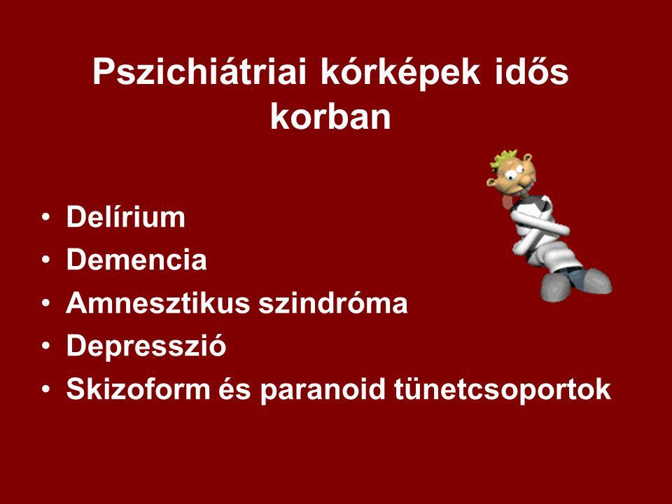 Pszichiátriai kórképek idős korban Delírium Demencia Amnesztikus szindróma Depresszió Skizoform és paranoid tünetcsoportok