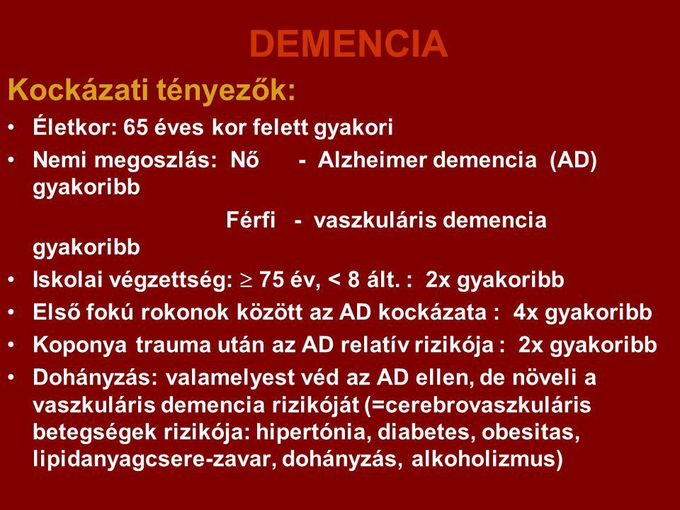DEMENCIA Kockázati tényezők: Életkor: 65 éves kor felett gyakori Nemi megoszlás: Nő - Alzheimer demencia (AD) gyakoribb Férfi - vaszkuláris demencia g