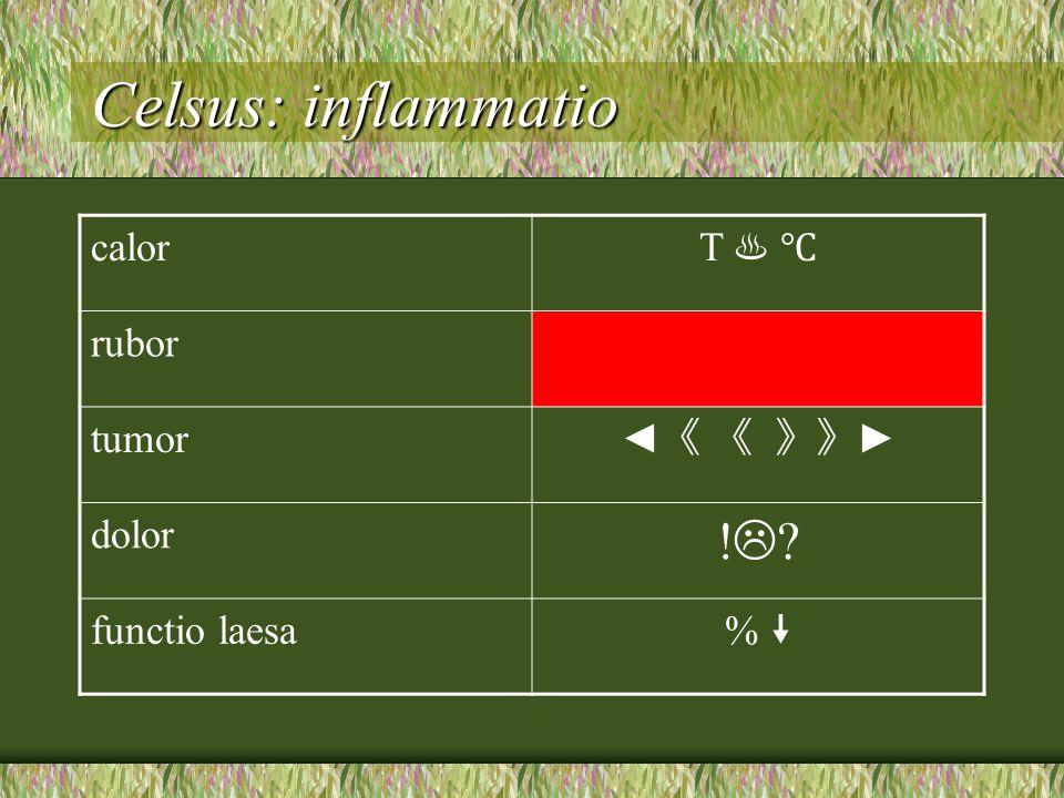 Celsus: inflammatio calor T ♨ ℃ rubor tumor ◄ 《 《 》》 ► dolor !?!? functio laesa % % 