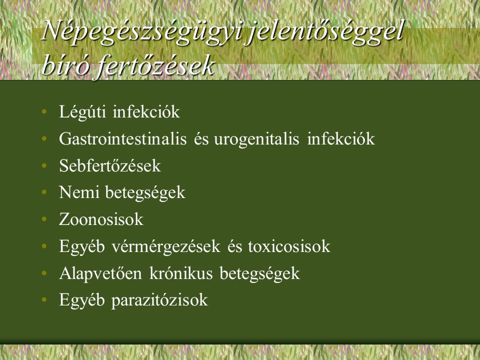 Népegészségügyi jelentőséggel bíró fertőzések Légúti infekciók Gastrointestinalis és urogenitalis infekciók Sebfertőzések Nemi betegségek Zoonosisok E