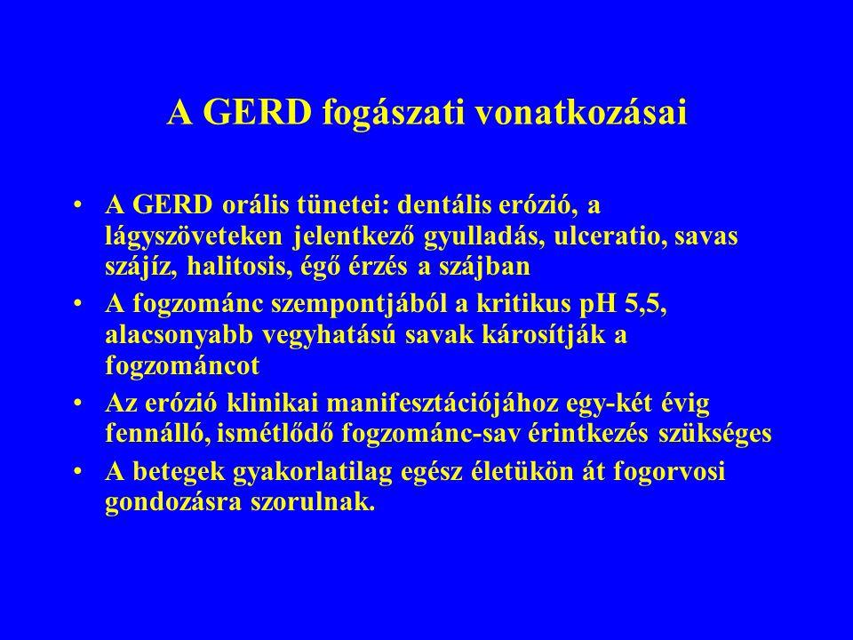 A GERD fogászati vonatkozásai A GERD orális tünetei: dentális erózió, a lágyszöveteken jelentkező gyulladás, ulceratio, savas szájíz, halitosis, égő érzés a szájban A fogzománc szempontjából a kritikus pH 5,5, alacsonyabb vegyhatású savak károsítják a fogzománcot Az erózió klinikai manifesztációjához egy-két évig fennálló, ismétlődő fogzománc-sav érintkezés szükséges A betegek gyakorlatilag egész életükön át fogorvosi gondozásra szorulnak.
