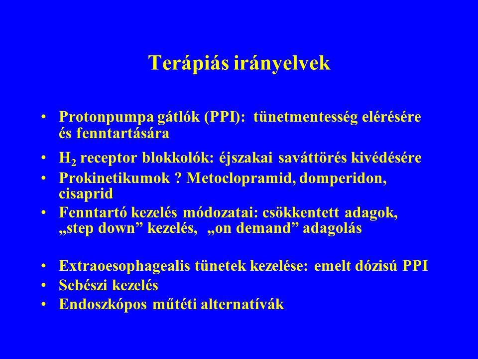 Terápiás irányelvek Protonpumpa gátlók (PPI): tünetmentesség elérésére és fenntartására H 2 receptor blokkolók: éjszakai saváttörés kivédésére Prokinetikumok .