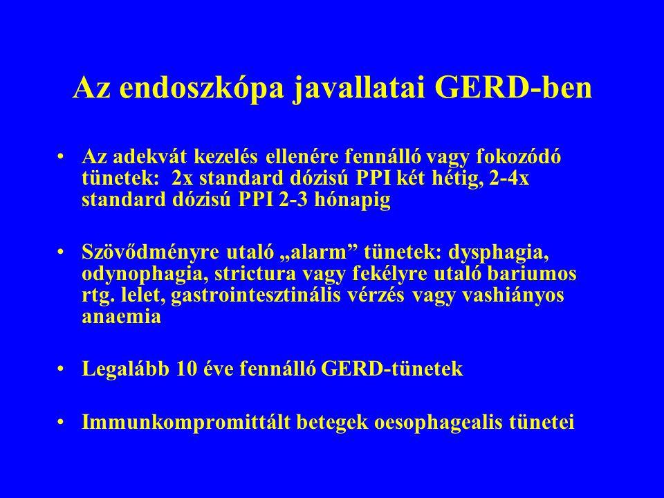 A GERD és a fül-orr-gégészeti betegségek II A reflux etiológiai felvetése csak előzetes adekvát F-O-G-i kivizsgálás (fizikális vizsgálat, endoscopia, foniátria) és a szakma specifikus kezelés sikertelensége esetén jön szóba ha a F-O-G-i panaszok mellett refluxra utaló tipikus panaszok is vannak PPI-teszt végezhető ha nincsenek GERD-re utaló panaszok, lehetőség szerint 24 órás kétcsatornás pH- monitorozás végzendő ezt követően PPI-teszt