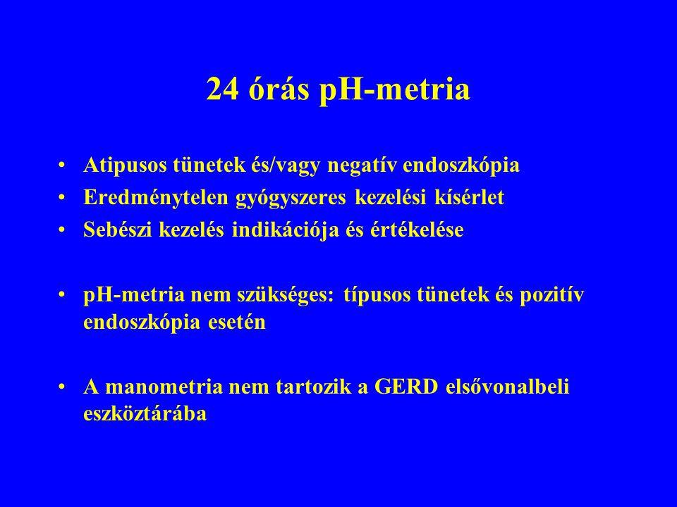 24 órás pH-metria Atipusos tünetek és/vagy negatív endoszkópia Eredménytelen gyógyszeres kezelési kísérlet Sebészi kezelés indikációja és értékelése pH-metria nem szükséges: típusos tünetek és pozitív endoszkópia esetén A manometria nem tartozik a GERD elsővonalbeli eszköztárába