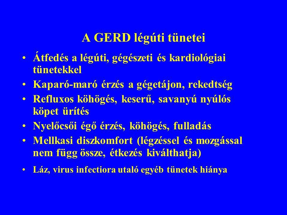 A GERD és a légzőszervi betegségek A GERD kiválthat légúti tüneteket és társulhat a légzőrendszer betegségeihez A krónikus köhögés okai: postnasalis váladékcsorgás (38-87%), asthma bronchiale (14-43%), gastrooesophagealis reflux (10-40%), krónikus obstruktív bronchitis (7-12%) A krónikus köhögés elkülönítő diagnosztikája: anamnézis, klinikai tünetek, rtg.