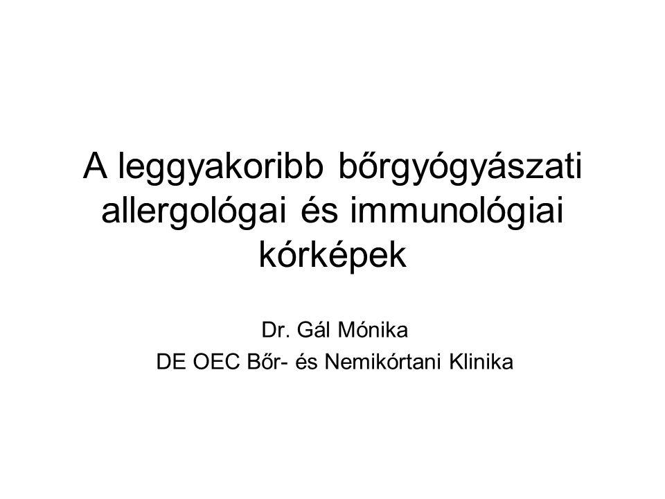 Pemphigus vulgaris Klinikum: - a csoport leggyakoribb formája - 40-60 éves életkorban, férfi:nő arány egyenlő - bőr- és nyálkahártya tünetek (gyulladásmentes környezetben ülő petyhüdt falú szalmasárga bennékű hólyagok, erosiók, pörkképződés) - progresszív, kezelés nélkül halálhoz vezet - mortalitás: 5-10% Pathogenesis: - hám ellenes antitestek az érintett bőrterületeken és a betegek szérumában: döntően IgG1 és IgG4 (utóbbi aktív stádiumban) - HLA-DR4 és DQ1allél asszociáció - PV antigének: desmosomalis cadherinek desmoglein 3 (130 kD) desmoglein 1 (160 kD) cholinerg receptor Dsg3 – csak nyálkahártya tünetek (conjunctiva, orr, vulva, anus, cervix, esophagus) Dsg1 és Dsg3 – nyálkahártya- és bőrtünetek
