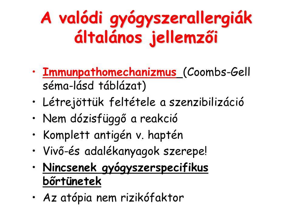 A valódi gyógyszerallergiák általános jellemzői Immunpathomechanizmus (Coombs-Gell séma-lásd táblázat) Létrejöttük feltétele a szenzibilizáció Nem dóz