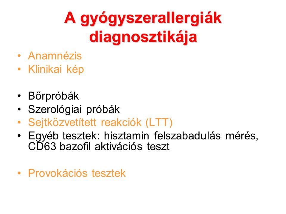 A gyógyszerallergiák diagnosztikája Anamnézis Klinikai kép Bőrpróbák Szerológiai próbák Sejtközvetített reakciók (LTT) Egyéb tesztek: hisztamin felsza
