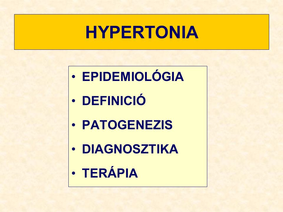 HYPERTONIA A felnőtt lakosság 20-25 %-a hypertoniás az 50 év felettiek 50%-a hypertonias mind a systolés, mind a diastolés RR növekedésével nő a cardiovascularis rizikó a rizikónövekedés 140/90 Hgmm-nél exponenciálissá válik 1 Hgmm-es MAP csökkentés 1%-kal csökkenti a stroke rizikóját a hypertonia megfelelő kezelésével - a cerebrovascularis események 41 %-kal - a cardiovascularis események 14%-kal csökkenthetők